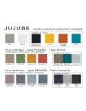 JUJUBE tabouret design structure acier peint, avec coussin et dossier capitonné pour extérieur, palette couleur au choix.