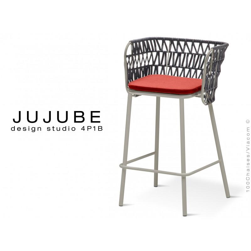 JUJUBE tabouret design structure acier peint gris, avec coussin d'assise rouge et dossier tressé pour intérieur