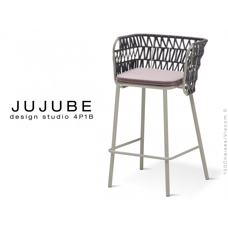 JUJUBE tabouret design structure acier peint gris, avec coussin d'assise couleur Glycine et dossier tressé pour extérieur