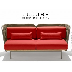 JUJUBE canapé structure acier couleur grise, dossier capitonné beige, assise tissu rouge pour intérieur