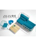 JUJUBE canapé structure acier couleur grise, dossier capitonné beige, assise tissu bleu pour intérieur