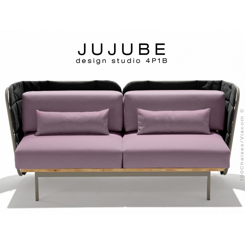 JUJUBE canapé structure acier couleur grise, dossier capitonné noir, assise tissu couleur Glycine pour extérieur