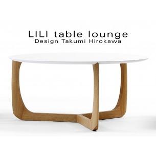 LILI table basse lounge ronde piétement chêne massif huilé, plateau blanc