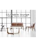 LILI table basse lounge ronde piétement chêne massif huilé, plateau blanc.
