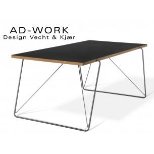 Table de repas ou de travail AD-WORK piétement inox plateau en placage de chêne recouvet de linoléum.