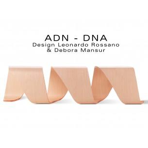 Banc d'attente 3 places - ADN aux formes hélicoïdales en contreplaqué finition placage chêne naturel