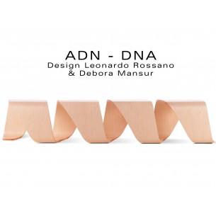 Banc d'attente 4 places - ADN aux formes hélicoïdales en contreplaqué finition placage chêne naturel