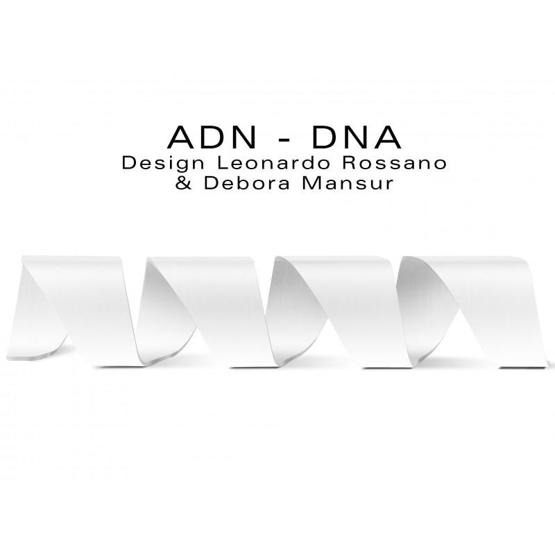 Banc d'attente 4 places - ADN aux formes hélicoïdales en contreplaqué finition peinture blanche RAL 9003