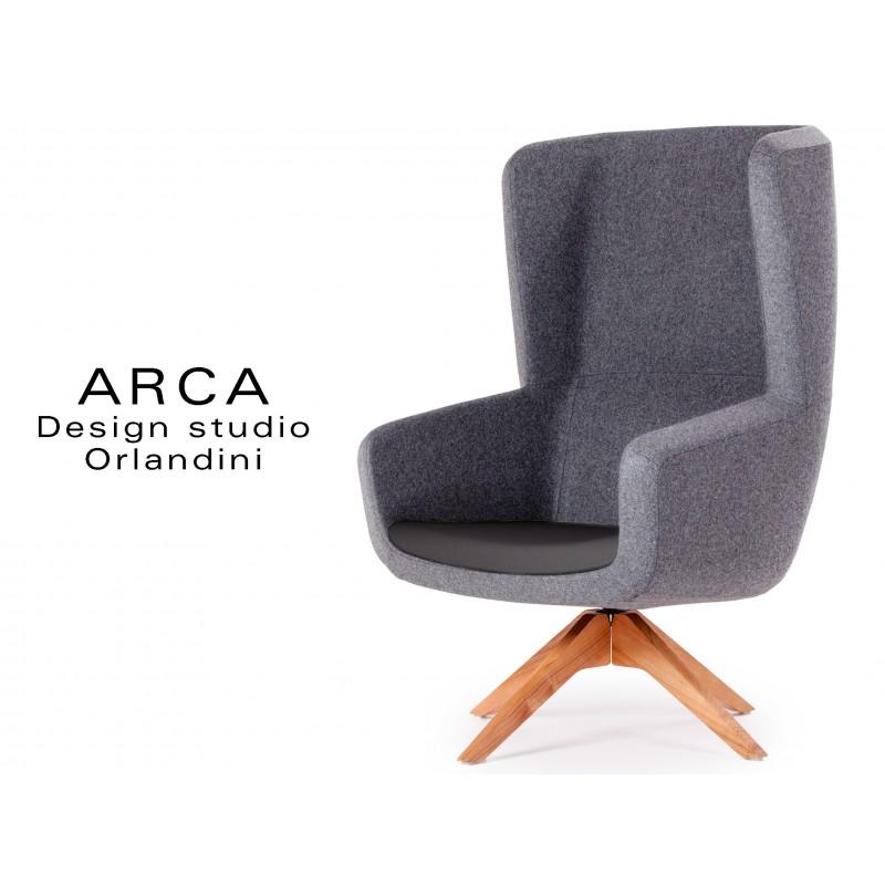 Fauteuil ARCA pour les espaces d'accueil et lounge - Habillage gris réf.: 8009, assise noir réf.: 8033
