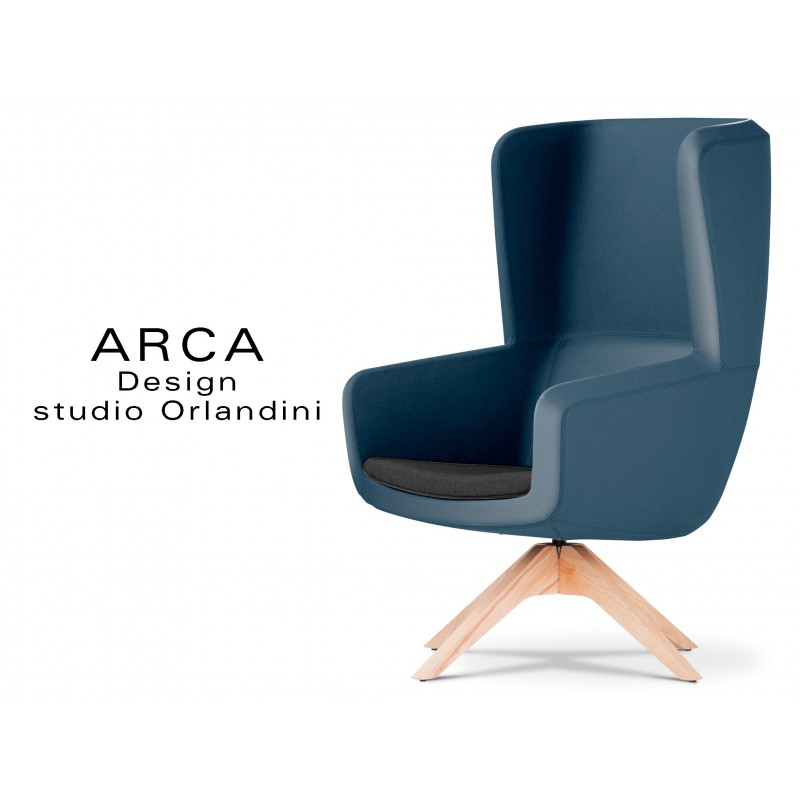 Fauteuil ARCA pour les espaces d'accueil et lounge habillage cuir bleu nuit 582 avec assise cuir noire 520