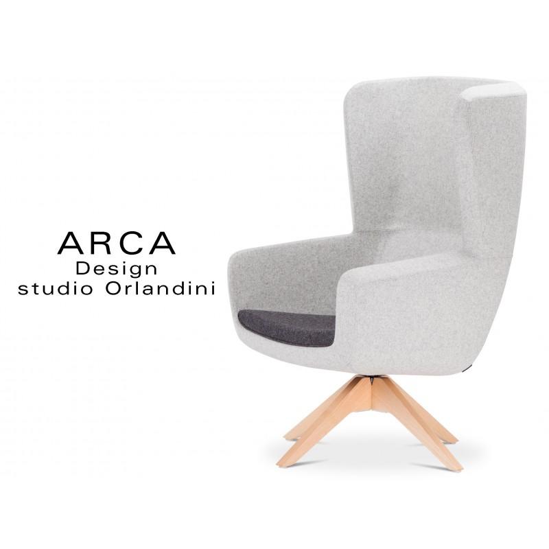 Fauteuil ARCA, habillage tissu Blazer 100% laine, fabricant Camira - Couleur Silverdale CUZ28