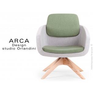 Fauteuil ARCA habillage 100% laine couleur gris Silverdale CUZ28 - Assise vert Lancaster CUZ1C