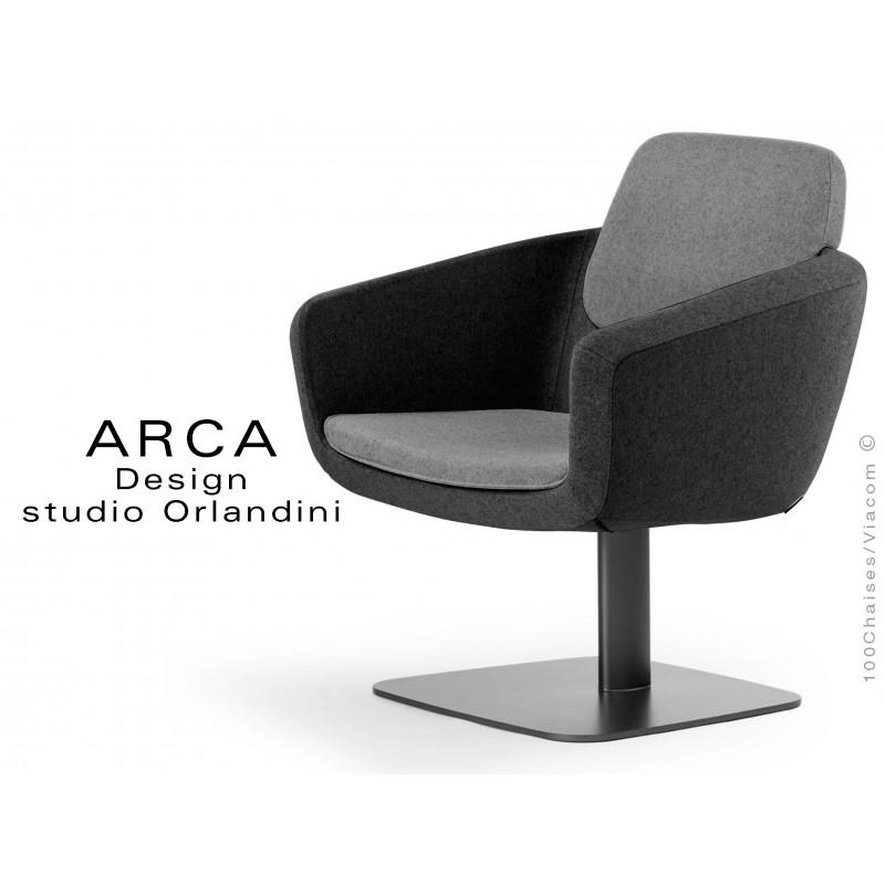 "Fauteuil ARCA habillage 100% polyester tissu ""Radio"" couleur noir"