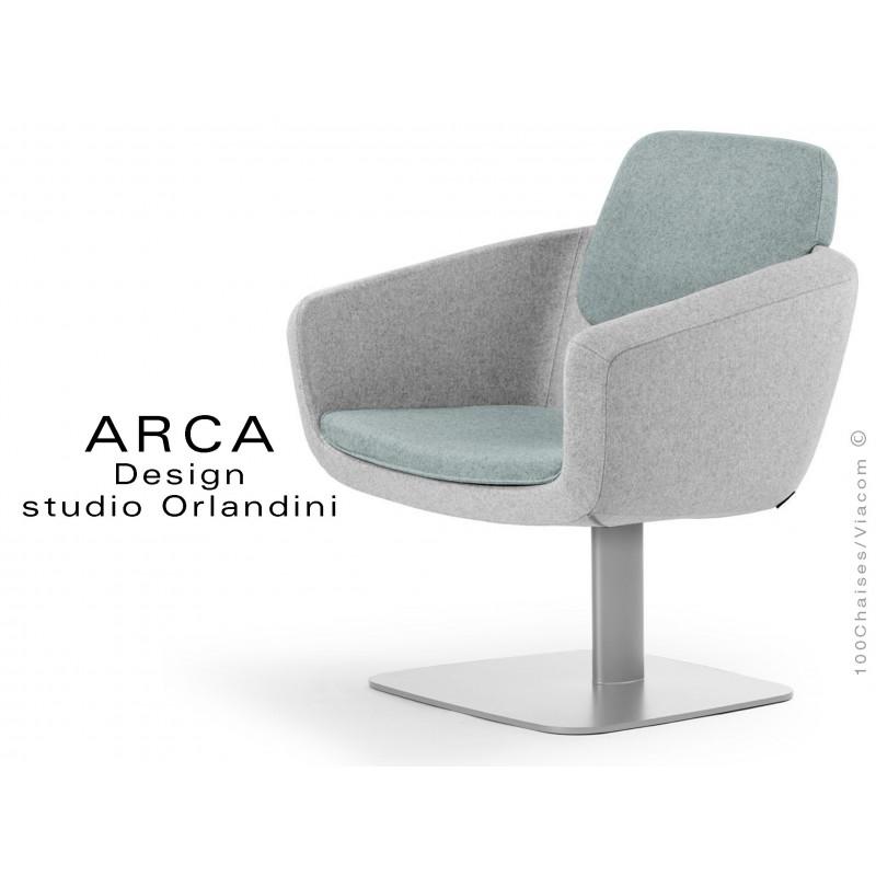 Fauteuil ARCA habillage 100% laine couleur bleu Plymouth, piétement gris aluminium