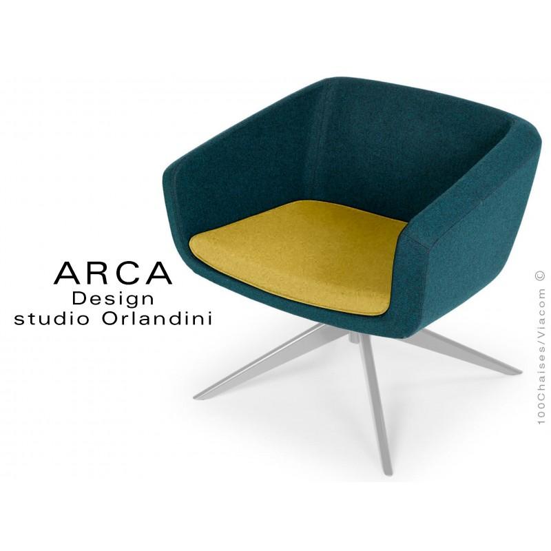 "Fauteuil ARCA habillage 100% laine tissu ""Blazer"" couleur jaune Dunhurst, piétement peint aluminium."