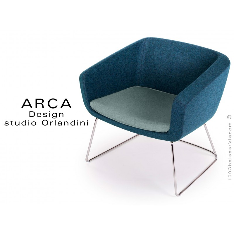 """Fauteuil ARCA habillage 100% laine tissu """"Blazer"""", coussin couleur bleu clair Plymouth"""