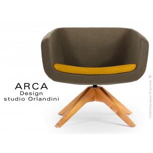 """Fauteuil ARCA habillage 100% laine tissu """"Blazer"""" couleur taupe, coussin orange-Wesley"""