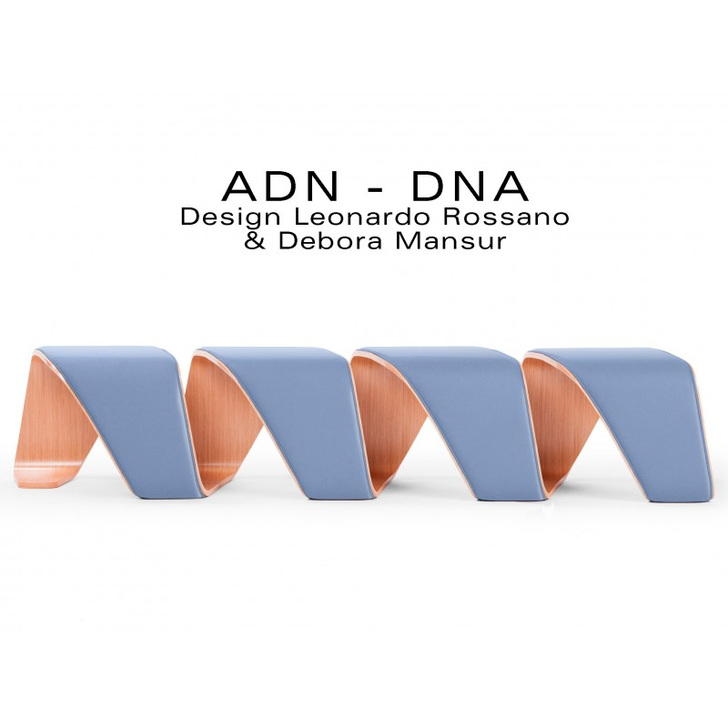 "Banc d'attente 4 places - ADN finition tissu ""Urban-Plus"" 100% polyester, couleur bleu Metropolis"