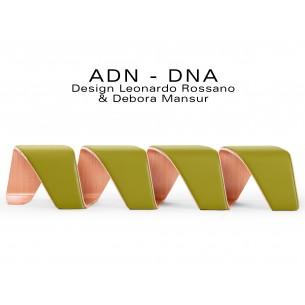 """Banc d'attente 4 places - ADN finition tissu """"Blazer"""" 100% laine, couleur kaki Ulster."""