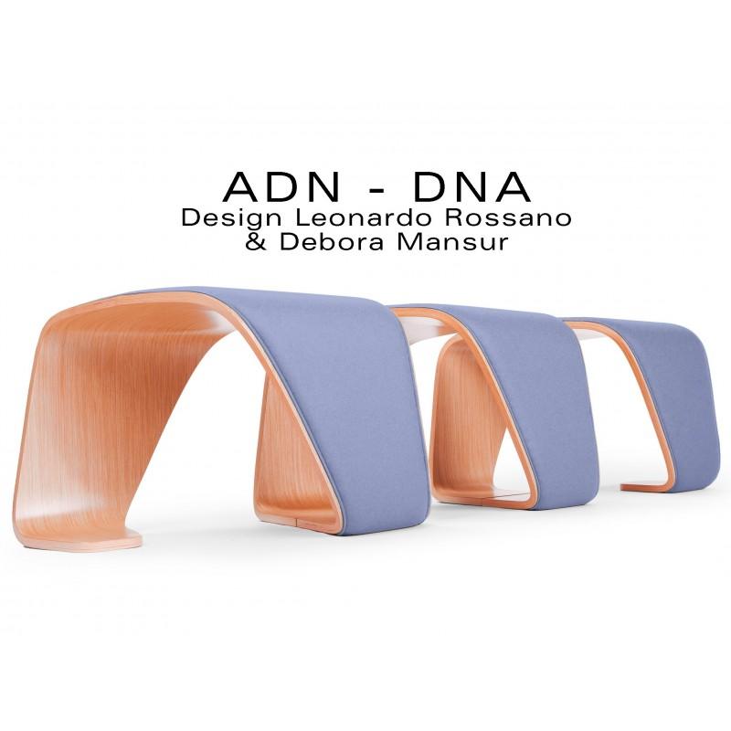 """Banc d'attente 3 places - ADN finition tissu """"Urban"""" 100% polyester, couleur lavande Metropolis."""