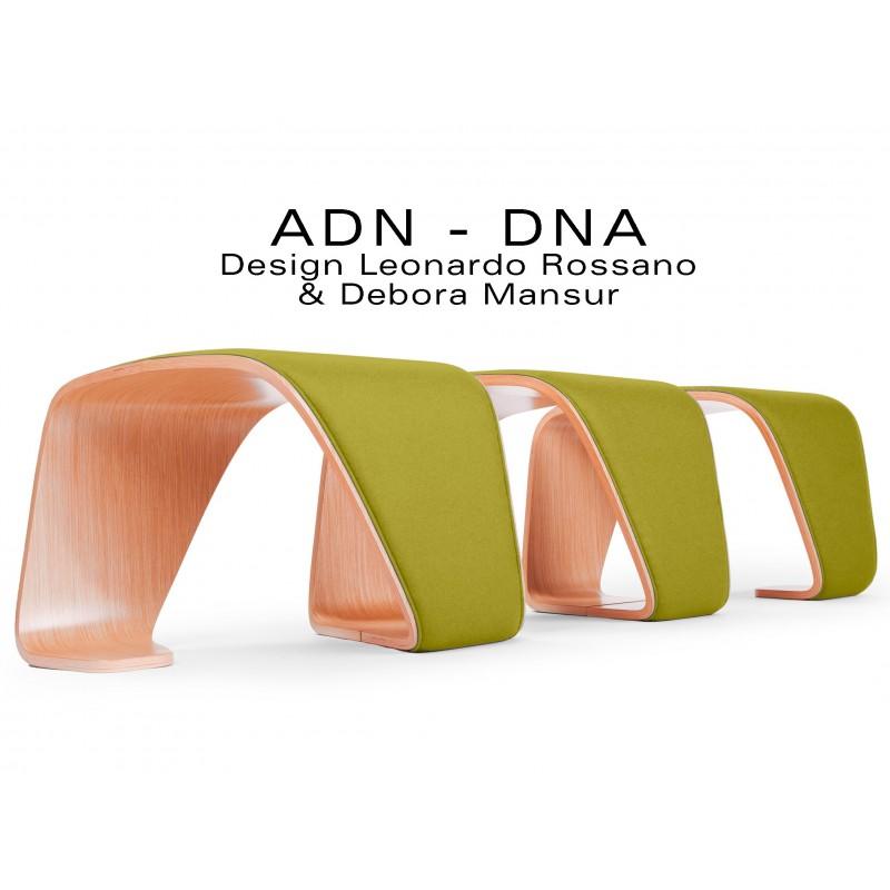 """Banc d'attente 3 places - ADN finition tissu """"Blazer"""" 100% laine, couleur kaki Ulster."""