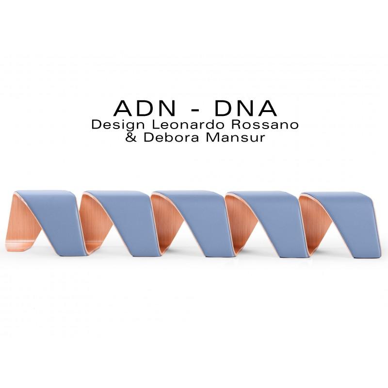 """Banc d'attente 5 places - ADN finition tissu """"Urban Plus"""" 100% polyester, couleur lavande Metropolis."""