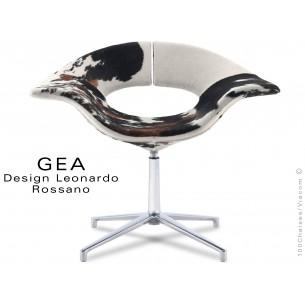GEA petit fauteuil à 4 branches en aluminium, assise peau de cheval