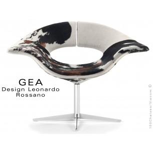 GEA petit fauteuil à 4 branches plat d'aluminium, assise en peau de cheval