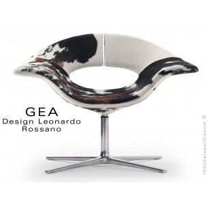 GEA petit fauteuil à 4 branches rondes en aluminium, assise en peau de cheval