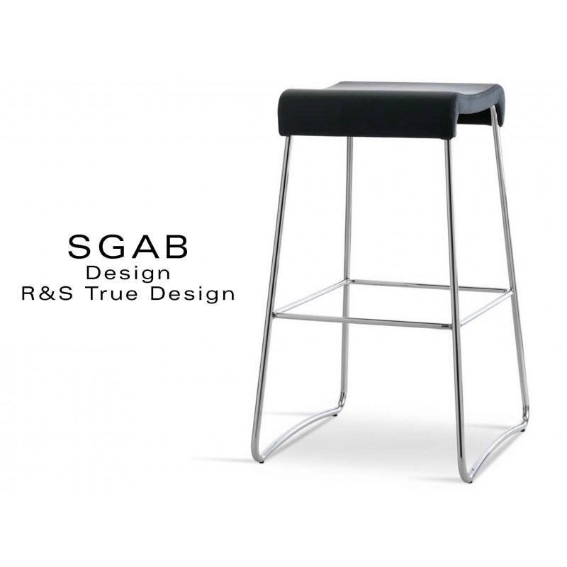 Tabouret design SGAB habillage cuir naturel bovin noir, piétement acier chromé