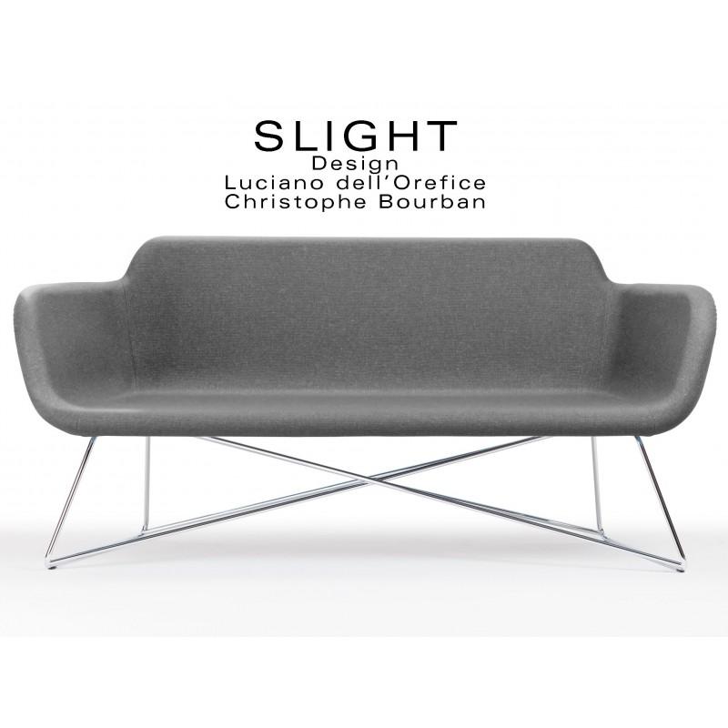 Canapé 2 places 100% laine SLIGHT piétement chromé, tissu gris foncé Aberlour.