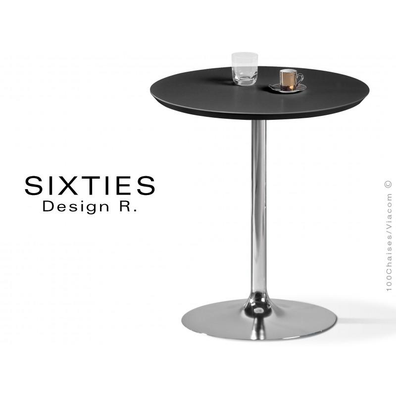 SIXTIES petite table ronde design pied trompette central chromé, plateau noir.