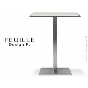 Table carrée FEUILLE plateau compact avec lamelle d'aluminium couleur blanc, pied inox