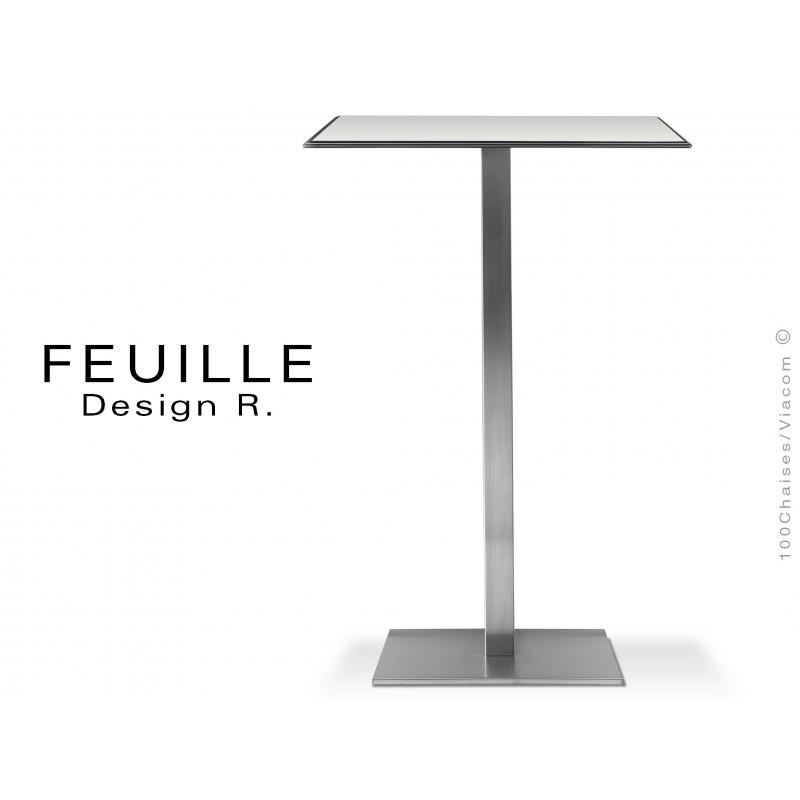 Mange-debout carrée FEUILLE plateau compact avec lamelle d'aluminium couleur blanc, pied inox