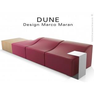 Banquette modulable DUNE assise cuir synthétique prune 317, structure bois hêtre naturel.