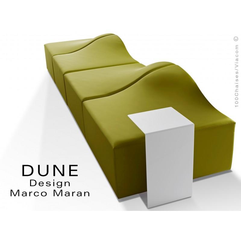 Banquette modulable DUNE-4 assise cuir synthétique couleur kaki 312, structure bois