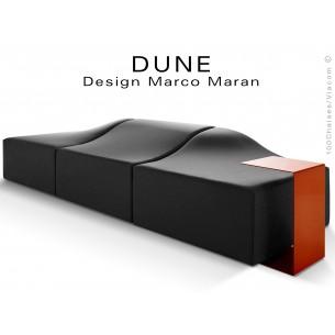 Banquette modulable DUNE-3 assise cuir synthétique couleur noir 365, structure bois