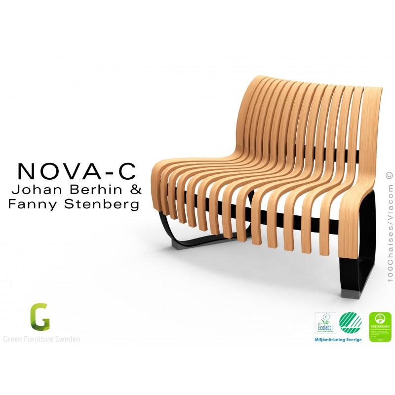 Banc NOVA module convexe 45°, assise bois teinté naturel, structure métal - 4 modules