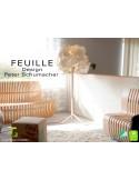 FEUILLE-80 lampe sur pied bois de Bouleau feuillage feutre 100% laine - Lot de 3 unités