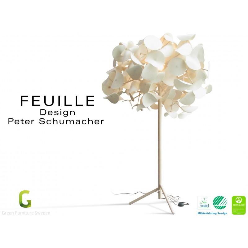 FEUILLE-130 lampe sur pied bois de Bouleau feuillage feutre 100% laine - Lot de 3 unités