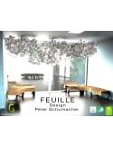 Suspension lumineuse FEUILLE-80 en bois de Bouleau feuillage feutre 100% laine - Lot de 3 unités