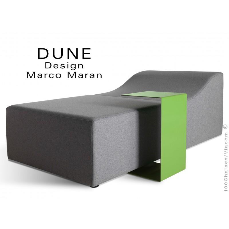 Banquette modulable DUNE-2 assise 100% laine couleur gris, structure bois avec tablette.