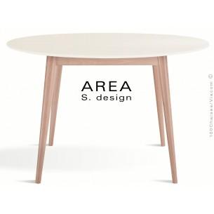 Table ronde en bois de hêtre AREA plateau rond en MDF, finition couleur blanc cassé.