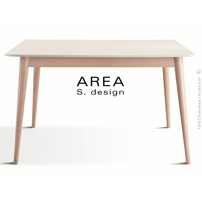 """Table rectangulaire en bois de hêtre """"AREA"""" plateau MDF finition couleur blanc cassé."""