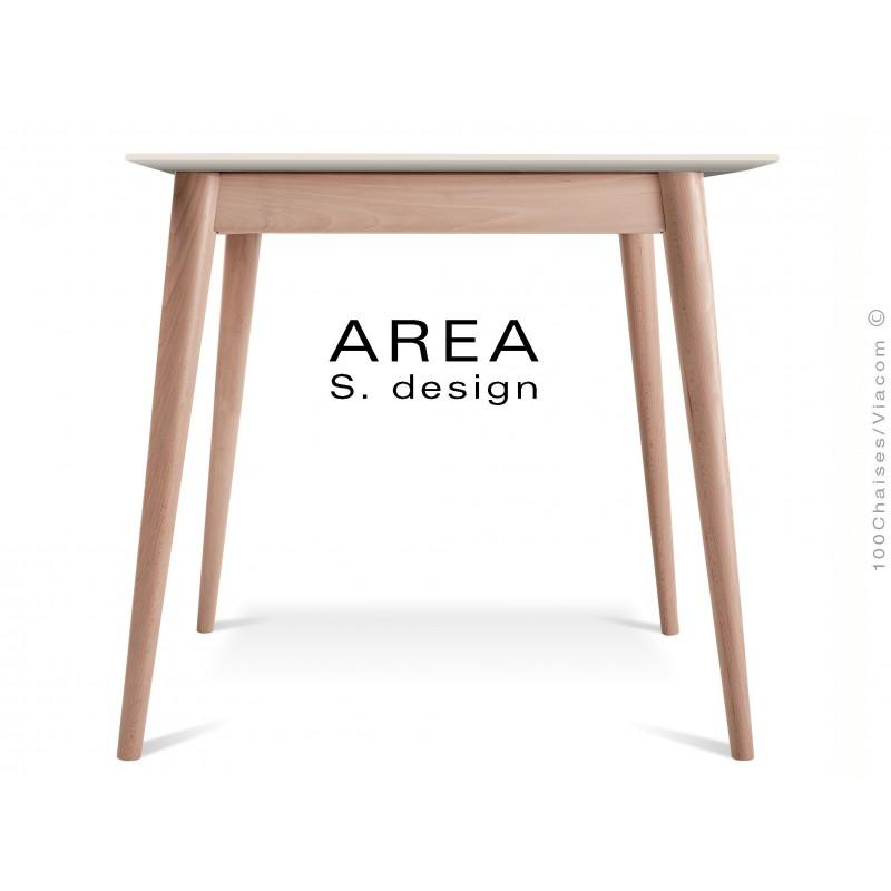 """Table carré en bois de hêtre """"AREA"""" plateau MDF finition couleur blanc cassé."""