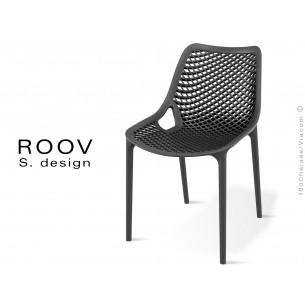Chaise ROOV plastique pour extérieur, bar, restaurant, jardin, couleur noir