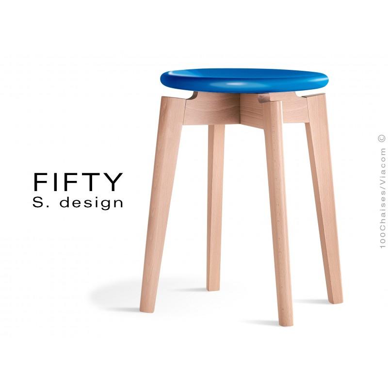 Tabouret FIFTY-45 assise couleur bleu piétement bois naturel, hauteur 45 cm.