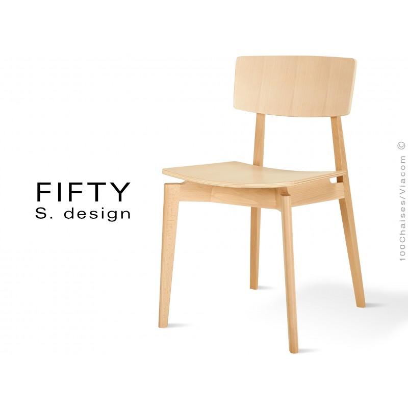 Chaise en bois FIFTY aspect naturel, vernis hêtre naturel