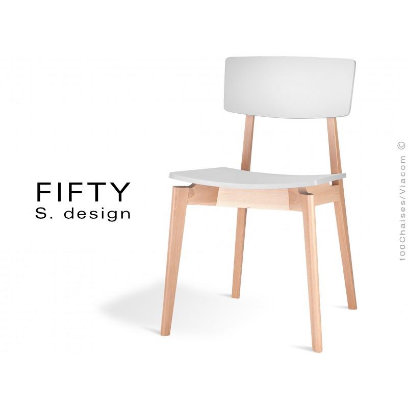 Chaise en bois FIFTY aspect naturel assise et dossier couleur blanc cassé