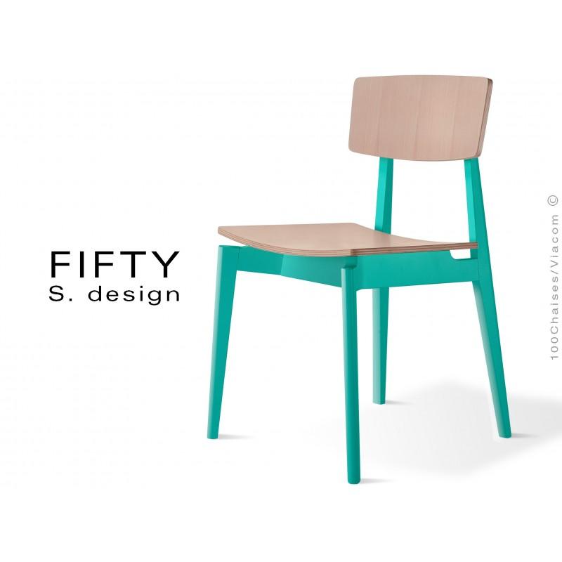 De Fifty CouleurAssise Bois Vernis Chaise Peinte Structure En 8nyvNOmw0